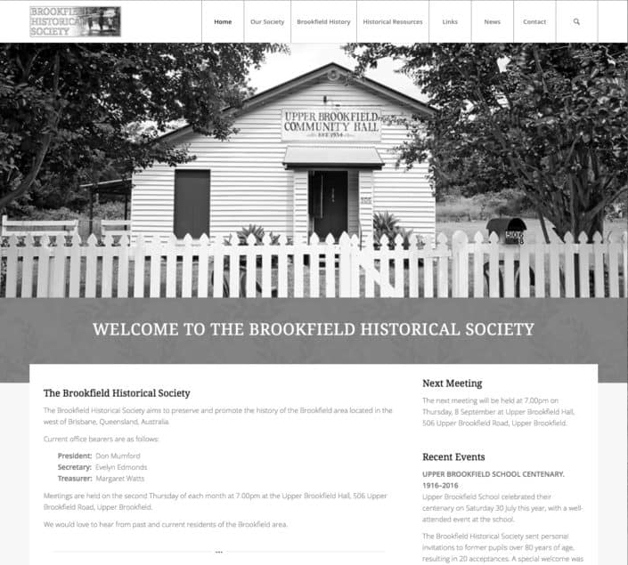 Brookfield Historical Society Website Design