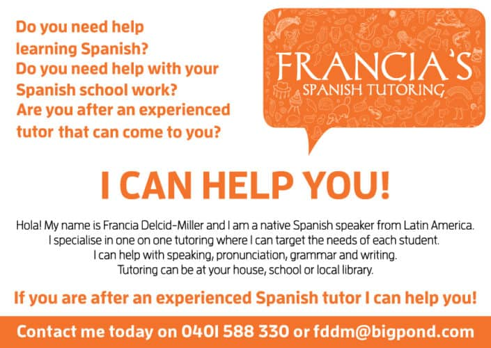 Small flyer design for Francia's Spanish Tutoring