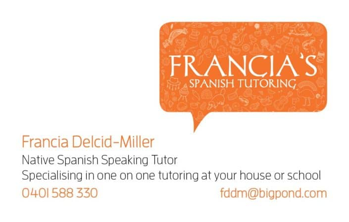 Business card design for Francia's Spanish Tutoring
