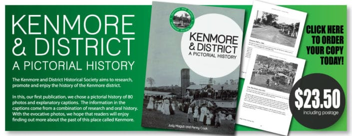 A banner promoting the publication 'Kenmore & District: A Pictorial History""