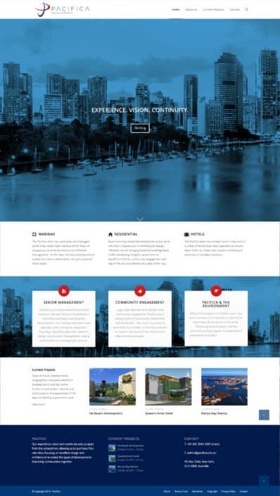 Website design for Pacifica Developments