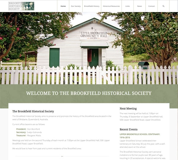 Brookfield Historical Society new website design