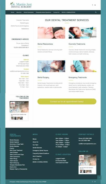 Dr Martin Jest Website Dental Treatments Page