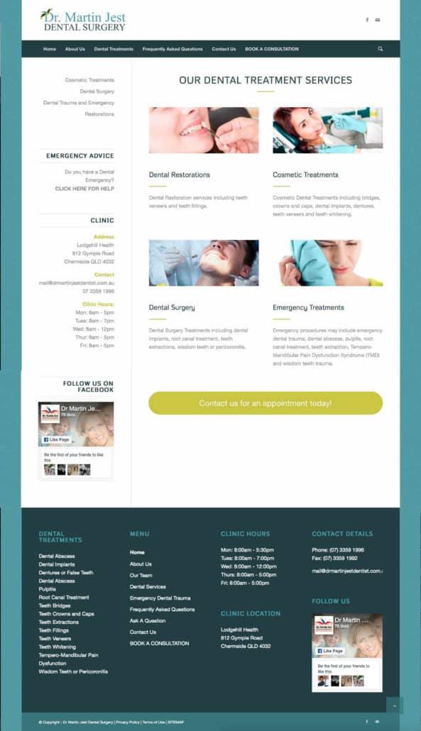 Dr Martin Jest Website Dental Treatments Page