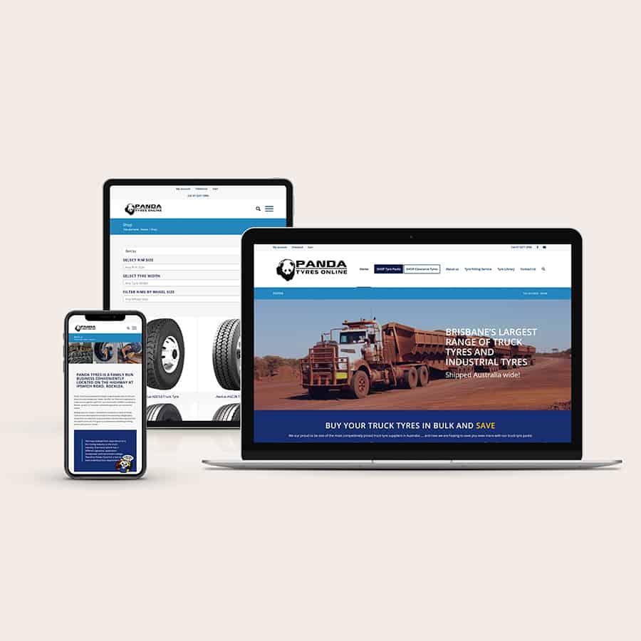 Panda Tyres Online website design by Moonstone Creative